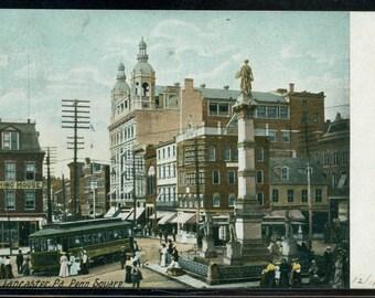 Lancaster Pennsylvania Penn Square Antique Undivided Back Postcard Postmarked 1906