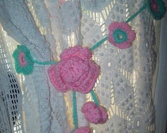 Crocheted flower curtain tie backs