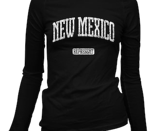 Women's New Mexico Represent Long Sleeve Tee - S M L XL 2x - Ladies' T-shirt, Gift For Her, Albuquerque, Las Cruces, New Mexico State Shirt