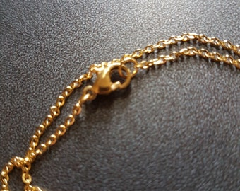 Beautiful chain gold link simple classic 1.2 mm with clasp (45cm)
