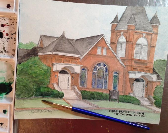 Featured listing image: Watercolor Painting of First Baptist Church in Montezuma, GA - 8x10 print