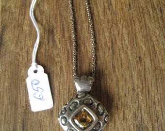 Sterling Silver Faceted Citrine Pendant Chain (650)