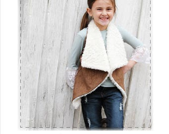 Jasper Vest, PDF Children's Pattern, girls vest, girl sizes 2t-12 years, digital clothing pattern, clothing pattern for child's vest