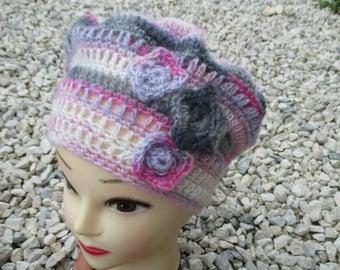 Pink angora wool, angora beret white and gray crochet Beanie, mother's day