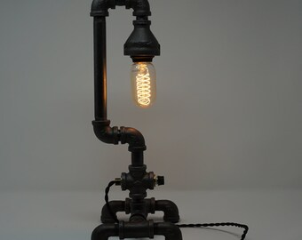 Vintage, Industrial, Steampunk, Black Pipe Table Lamp ,Edison Bulb
