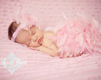 The ORIGINAL Pink Feather Bloomer & Headband Set, Pink Feather Diaper Cover, Newborn Photo Outfit, Take Home Outfit, Pink Feather Tutu