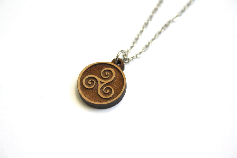 Wood triskelion necklace triskele pendant wooden celtic zoom aloadofball Choice Image