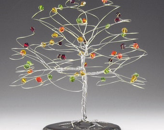 """Fall Wedding Cake Topper Tree Cake Topper  6"""" x 6"""" with Genuine Swarovski Crystal Elements Silver Gold Copper Yellow Red Orange Green"""