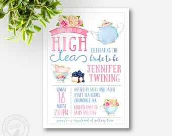 High Tea Invitation | Bridal Shower Invite | High Tea Shower | Tea Party | Printable DIY | 2202