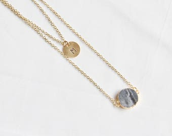 personalized druzy necklace, double strand necklace, initial necklace, druzy necklace, druzy gem, gold initial necklace, bridesmaid gift