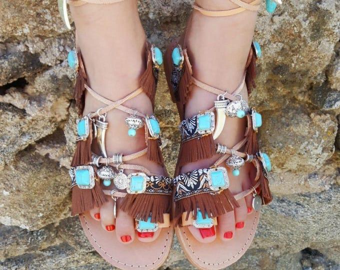 """DHL FREE Greek handmade sandals  """"AMAYA"""",tie up gladiator sandals,boho,ethnic,fringes sandals,tassels sandals,women's sandals handmade ,flat"""