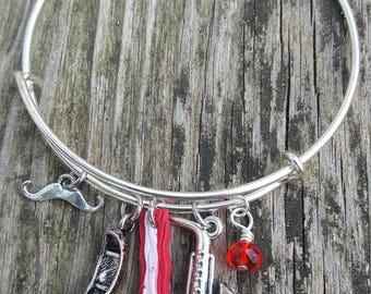 Ron Swanson bracelet, Pawnee, Parks and Rec Bracelet,  Moustache bracelet, Gifts For Her, Free Shipping