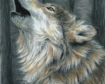 HOWLING WOLF by Carla Kurt Signed Print