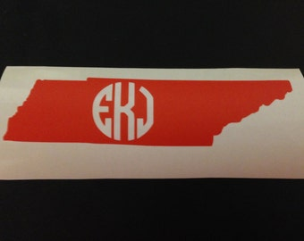 Monogram Tennessee State Outline Vinyl Decal, Personalized