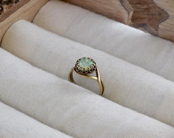 Chrysolite opal ring, Vintage style ring, Aqua green opal Swarovski crystal ring, Bridesmaid gift, Crown bezel ring, Opal rings for women