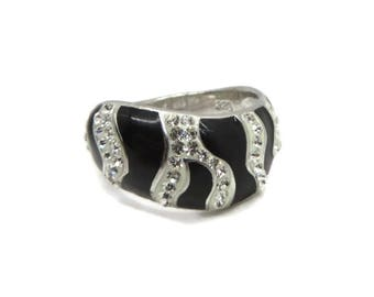 Sterling 925 Zebra Stripe Ring, Vintage Black Enamel, CZ Ring, Size 8