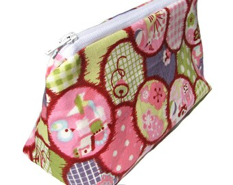 JULY PREORDER Cosmetic pouch bag with spring gingham polka dots pink japanese fabric make up case gift bag travel kit toiletry zipper