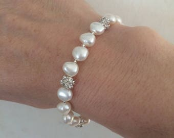 Freshwater pearl wedding bracelet, real pearl and diamante bridal bracelet, Sterling Silver toggle clasp, BAROQUE pearl wedding jewelry GIFT