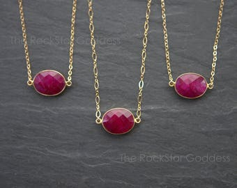 Ruby // Ruby Necklace // Red Ruby // Ruby Jewelry // July Birthstone // Ruby Pendant // Gold Ruby Necklace // Ruby Bezel // Gold Ruby