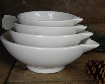 Nesting Ceramic Measuring Cups WHITE  1 Cup, 1/2 Cup, 1/3 Cup, 1/4 Cup Bowl  cup set,   Prep Bowls , bake, hostess, wedding or new home gift