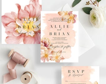 Floral Blush Wedding Invitation suite, Tropical Destination Wedding Invitation {Cancun design}
