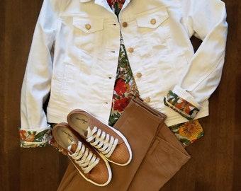 Tea Dyed Off-White, Creamy Denim Jacket Upcycled Refashioned Size Medium