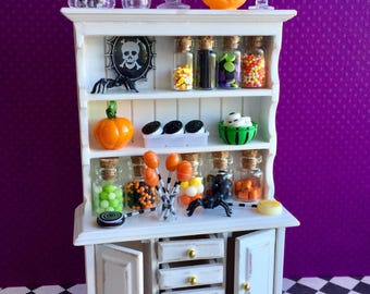 Miniature Halloween candy cupboard, dollhouse candy display, miniature candy