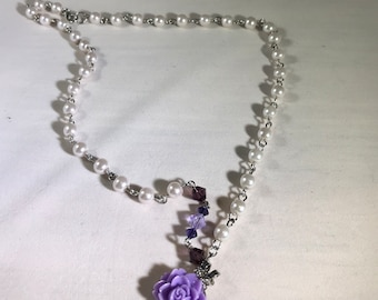 Lavender and Pearls Necklace