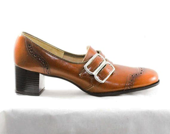 1960s NOS 5 Worn 48188 Caramel Modernist 60s Pumps Mod Never Buckles Shoes in 1 Narrow AA Box Leather 6 Loafers Brown 6 2 Size ZxAXYY