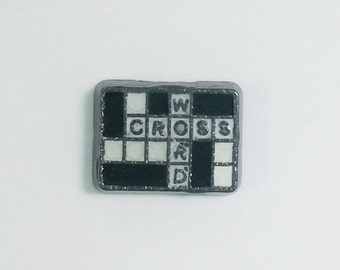 1 PC - Crossword Puzzle Enamel Silver Charm for Floating Locket Jewelry F0246