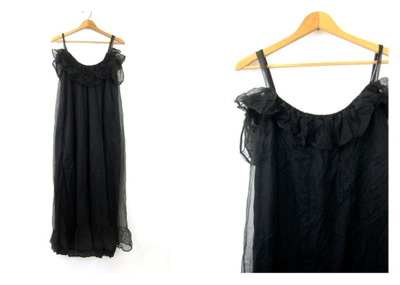 Sexy Black Vintage Pin Up Hollywood Lingerie Ruffle Nighti Negligee Slip Nightgown Women's Size Medium 36 Dell's