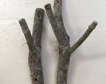 Rustic twig hooks.  Bundle of 2.