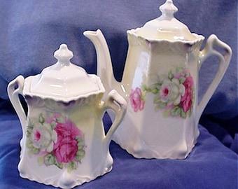 Greiner and Herda, German Porcelain Chocolate or Teapot and Sugar 1886-1943
