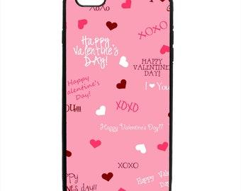Valentine's Day XOXO Print Phone Case Samsung Galaxy S5 S6 S7 S8 S9 Note Edge iPhone 4 4S 5 5S 5C 6 6S 7 7S 8 8S X SE Plus