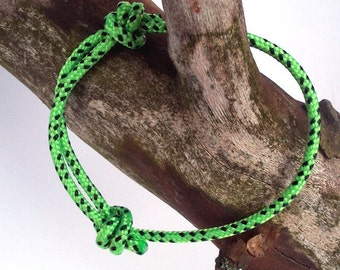 lime green sailing cord bracelet, surfer bracelet lime green black, maritime nautical sailing surf