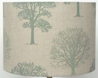 Light and dark Green  Linen  Woodland trees Lampshade available for a  Table or Ceiling