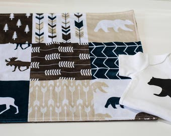 Baby Onesie, Baby Shower Gift Set, Baby Girl Gift Set, Baby Boy Gift Set, Security Blanket, Woodland Shower Gift, Moose Bear Brown Tan Navy