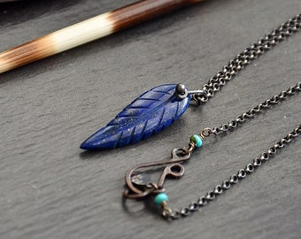 Lapis Feather Necklace Sterling Silver And Lapis Lazuli Necklace Gemstone Pendant Simple Leaf Pendant Minimalist Jewelry Blue Feather