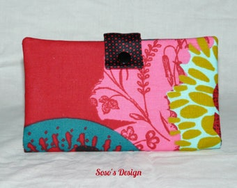 Red wallet in black, green and pink