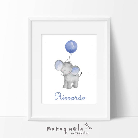 Elefantito con globo azulado/ Little ELEPHANT Blue balloon