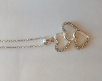 Silver Heart Necklace, 3 Heart Necklace, Silver Diamond Necklace, Heart Charm Necklace