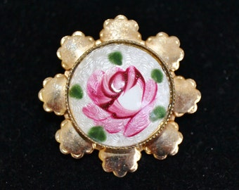 Vintage Floral Guilloche and Gold Metal Brooch