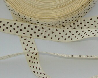 1 meter Ribbon satin grosgrain cream polka dot Brown width 16mm