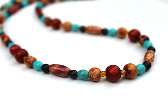 Brown and Turquoise Jewelry Set, Wood Beaded Necklace, Long Boho Necklace Jewelry Set