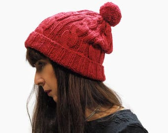 Deep Red knit hat/ cable knit hat/ rolled brim beanie hat/ women knit hat/ winter hat/knit beanie hat/ deep red beanie/ knit pom pom hat