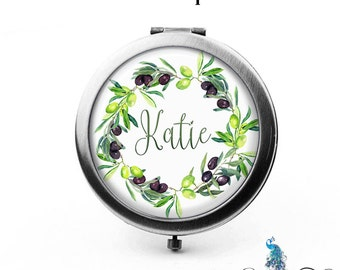 Compact Mirror Olive Branches Floral Wreath The Katie Bridesmaid Gifts Cosmetic Mirror Personalized Gifts Birthdays Ladies Women