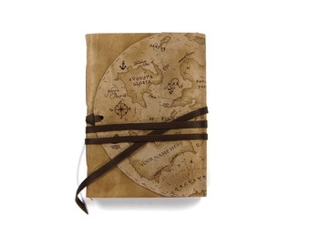 personalised leather journal - hand painted vintage old map theme - free monogramming, custom initials - Magellan