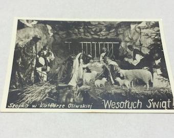 vintage 1950s polish postcard christianity postcard crib jesus postcard polish postcard christmas photo picture postcard hand writing