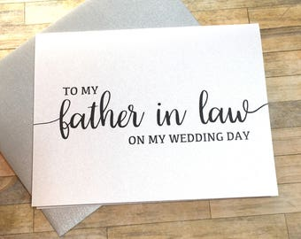 to my father in law on my wedding day card - wedding day card for dad - father in law - mother in law card - new mom and dad - BLACK TIE
