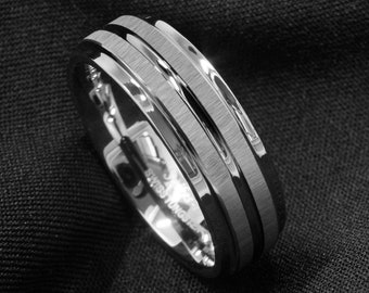 Double Meteorite Inlay Silver Tungsten Casual/Wedding Ring